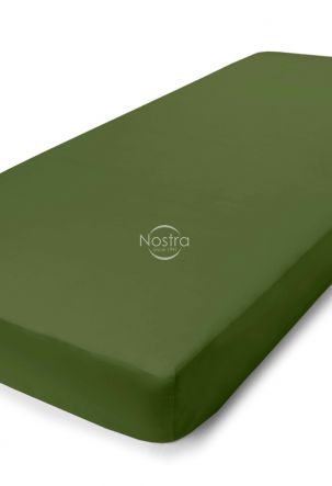 Satiinist voodilina kummiga 00-0413-MOSS GREEN