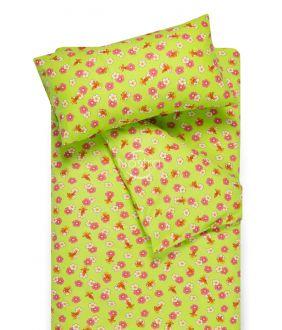 Flanellist voodipesu lastele LITTLE BEES 10-0130-GREEN