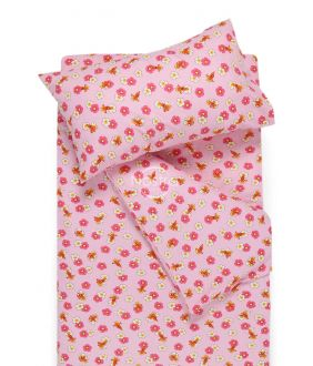 Flanellist voodipesu lastele LITTLE BEES 10-0130-PINK