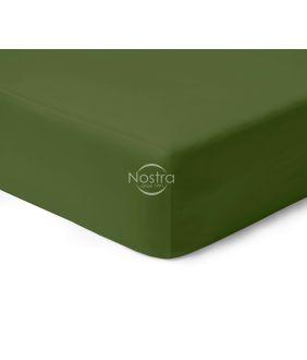 Атласная простыня на резинке 00-0413-MOSS GREEN